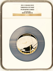 Canada 2011 25$ Toronto City Map NGC PF69  2oz Silver Coin Royal Canadian Mint