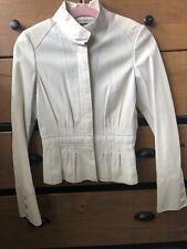 Ladies Hugo Boss Cream Leather Classic Jacket UK6