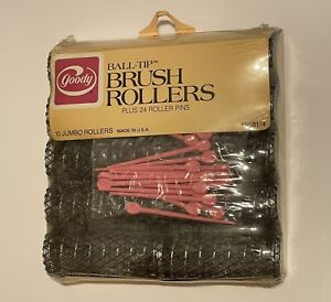 Goody Ball-Tip Brush Rollers Jumbo Rollers (10) #9581/4 NEW with Pink Pins 1982