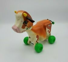 Vintage Fisher Price Cow Pull Toy 132 1972 Plastic