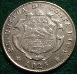 NICE GRADE 1924 SILVER 25 CENTIMOS COSTA RICA-