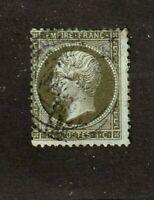 France stamp #22, used, 1862 - 1871, 1c Olive green, SCV $30