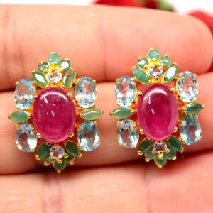 NATURAL PINK RUBY TOPAZ & EMERALD EARRINGS 925 SILVER STERLING