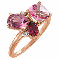 Genuine Pink Tourmaline, Topaz & Garnet & Diamonds Cluster Ring 14K. Rose Gold