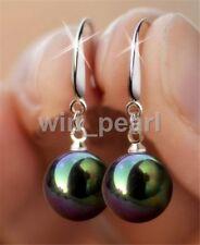 10mm Black South Sea Shell Pearl Sterling Silver Hook Dangle Earrings