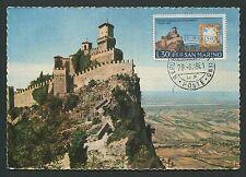 SAN MARINO MK 1961 CASTELLO TORRE TOWER MAXIMUMKARTE MAXIMUM CARD MC CM d1214