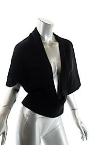 JEAN PAUL KNOTT Black Tencel and Wool Blend Cropped Rib Edge V Neck Sweater Sz M
