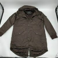 New Cult of individuality mens jacket lined parka Sz L brown Polyester x 494
