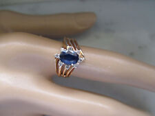Narural Sapphire and Natural Diamond Ring Antique style Solid 14k Yellow Gold