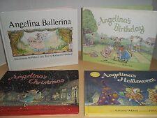 Pleasant Company Lot Angelina Ballerina Books - Halloween, Christmas, Birthday
