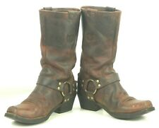 Ariat 97601 Distressed Brown Leather Harness Biker Boots US Made Women's 8 B