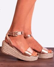 ROSE GOLD WEDGED PLATFORMS WEDGES ESPADRILLES CANVAS STRAPPY SANDALS SIZE 3-8