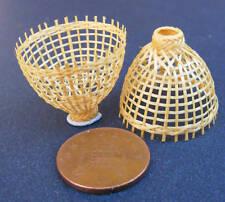 1:12 Scale 2 Small Handmade Bamboo Baskets Tumdee Dolls House Shop Accessory Ps