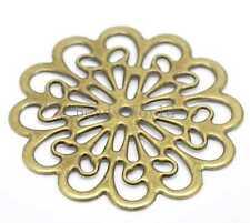 20 Bronze Tone Filigree Flower Wraps Connectors Embellishment Findings 60x60mm