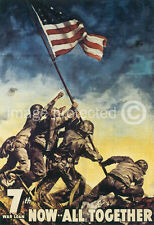 Iwo Jima Now All Together WWII US Army Vintage Poster 18x24