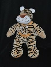 Peluche doudou tigre + bébé NICOTOY brun beige noir poche orange rayée 32cm TTBE