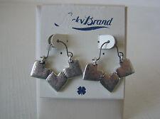 Lucky Brand Silver Tone Triple Heart Drop Earrings