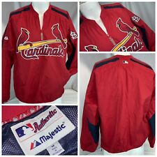 St. Louis Cardinals Majestic Pullover Jacket M Red ½ Zip Stitch Mint YGI K0-460