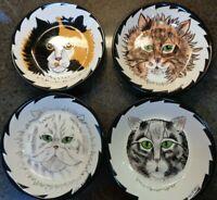 "Cats by Nina Lyman Set of 4 8"""" Bowls Hand Painted Calico Tabby Persian Kitty"