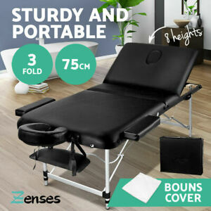 Zenses Massage Table 75CM Portable 3 Fold Aluminium Therapy Beauty Bed Waxing