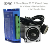 Nema 23 3 Phase 3Nm Hybrid Servo 57mm closed loop stepper Motor Driver 3M Cable