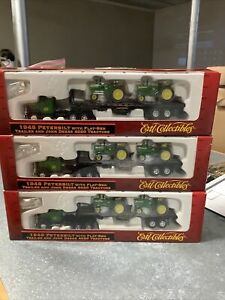 Lot Of 3 ERTL #5458 1948 Peterbilt w/Flat-Bed Trailer&John Deere Tractors