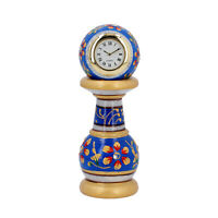 Home Decor Blue Gold Handcrafted Little India Ethnic Design Marble Table Clock
