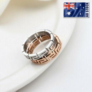 Women's Titanium Steel Silver Colour Greek Style Wedding Engagement Band Ring