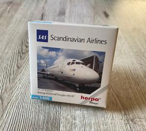 Herpa Wings 1:500 SAS Scandinavian Airlines McDonnell Douglas MD-87 Top & OVP