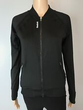 Women's Reebok Black Stretchy Exercise Athletic Workout Zip Jacket SZ XS