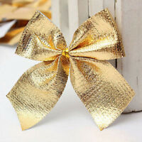 12X Christmas Tree Bow Decoration  Baubles XMAS Party Garden Bows Ornament FT