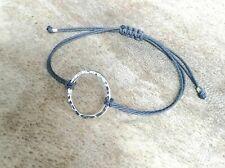 Karma Circle Bracelet 925 Sterling Silver Hammered Adjustable Cord choose colour