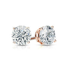 1.5 ct Round Cut Solitaire Stud Earrings in Solid 14k Real Rose Gold Screw Back