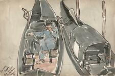 GONDOLA AT VENICE ITALY Watercolour Painting 1891 - GRAND TOUR