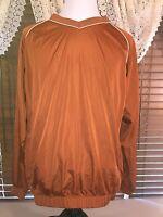 Mens EUC FOOTJOY XL Extra Large Copper LS V Neck Pullover Golfing Windbreaker