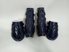 Navy patent With White Cow Softy Leather Lining Tendon & Fetlock boots (Pony)