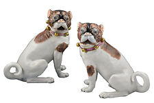 Fine Pair of Carl Thieme Dresden Porcelain Pug Dog Figurines / Statues