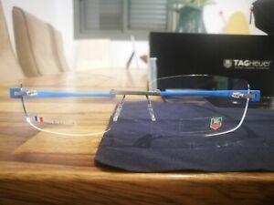 TAG HEUER Reflex Pure Blue Azur Rimless Eyeglasses TH 3941 010 56-16