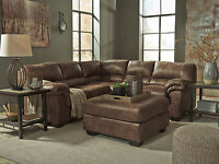 NEW Modern Living Room Brown Microfiber Sectional Sofa Couch & Ottoman Set IG00