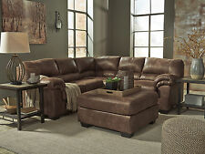 Modern Brown Microfiber Sectional Sofa Couch Ottoman - ROYCE 3pc Living Room Set
