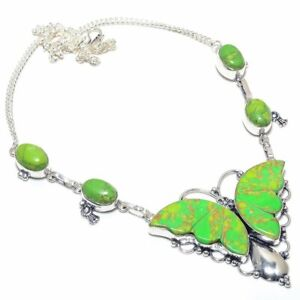 """Butter Fly- Green Turquoise Gemstone Handmade Jewelry Necklace 18"""" ZN-1577"""