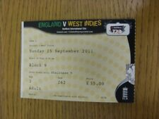 25/09/2011 Ticket: Cricket - England v West Indies [At The Oval]. Thanks for vie