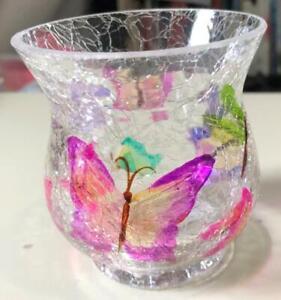 """Yankee Candle Butterflies Crackle Glass Votive Tea Light Holder 4""""H x 3"""""""