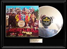 THE BEATLES SGT. PEPPER RARE FRAMED LP WHITE GOLD SILVER PLATINUM TONE RECORD UK