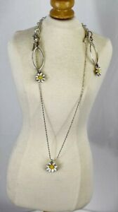 Brighton Silver White Daisy Pendant Necklace and Daisy Hook Earrings Jewelry Set