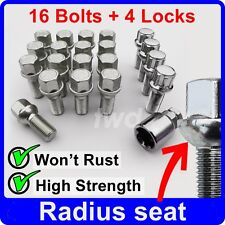 20 x ALLOY WHEEL BOLTS + LOCKS FOR AUDI (M14x1.5) RADIUS SEAT STUD NUTS a[R4b]