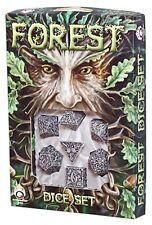 Q-Workshop Forest 3D RPG Dice Set (7 Polyhedral) Beige & Black SFOR18