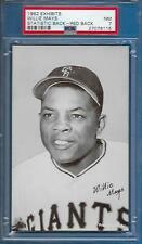 1962 Exhibits RARE Red Statistic Back Willie Mays Card Low Pop NM TOUGH PSA 7
