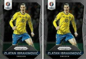 2016 PANINI UEFA EURO PRIZM Zlatan Ibrahimovic Sweden 1st Prizm Base Cards x2