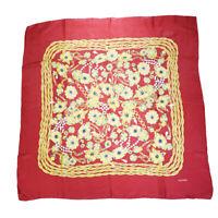 Authentic CHANEL CC Logo XL JUMBO Scarf Handkerchief 100% Silk Red Italy 02BJ186